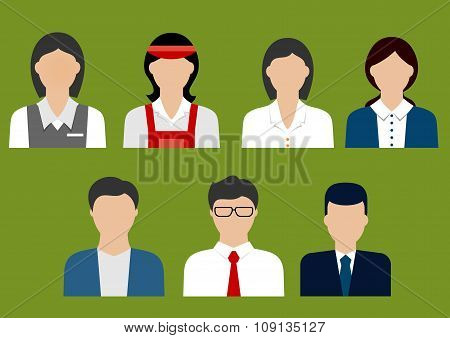 Business and sales profession flat avatars