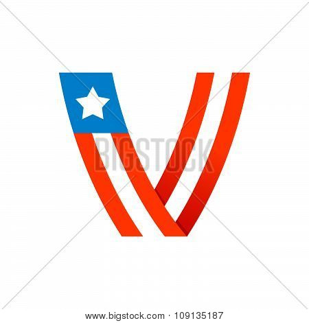 V Letter With American Stars And Stripes.