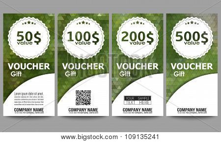 Set of modern gift voucher templates. Polygonal design vector, colorful geometric triangular backgro