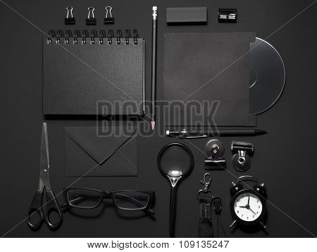 Office mock-up on black background