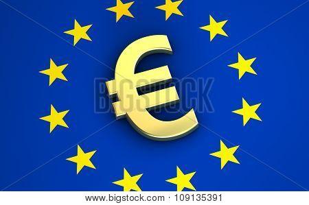 Euro Icon On European Union Flag