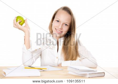 Cheerful Schoolgirl Holding Apple