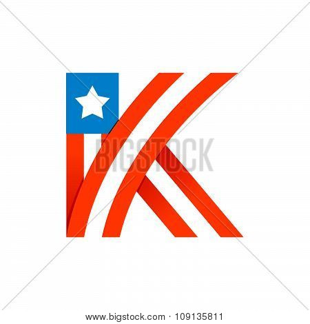 K Letter With American Stars And Stripes.