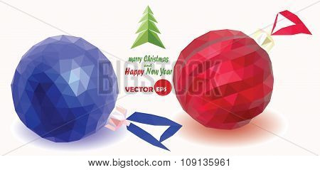 Set of red and blue Christmas balls on the white background