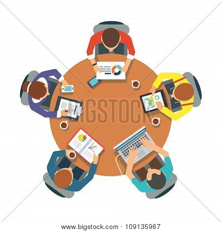 Five people team sitting and working together