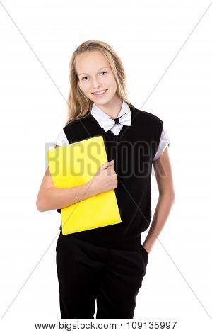 Portrait Of School Girl With Yellow Folder