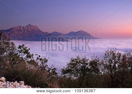 Landscape with the image of a fog in Montenegro mountains