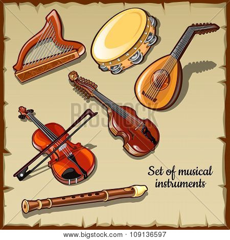 Set of string and wind musical instruments, six icons