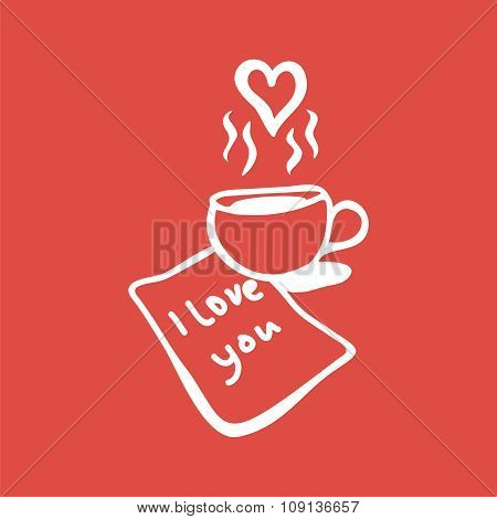 letter with love message and cup of coffee