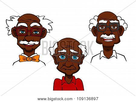 Cartoon joyful seniors and old men