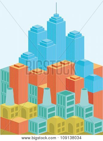 Architecture modern business buildings icon set flat 3d isometric web illustration vector.
