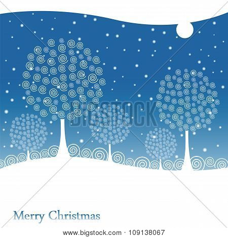 Winter Trees On Christmas Postcard Background.