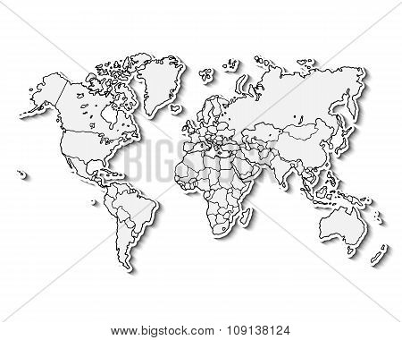Hand drawn realistic world map.