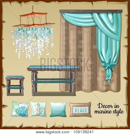 Set of decor and furniture in a nautical style