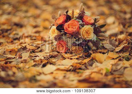 Bridal bouquet, leaves, autumn