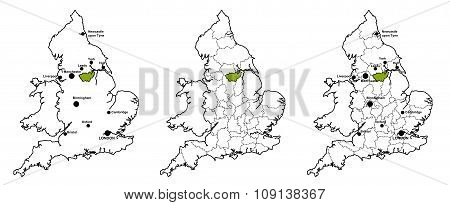 South Yorkshire located on map of England
