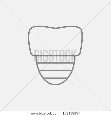 Tooth implant line icon for web, mobile and infographics. Vector dark grey icon isolated on light grey background.