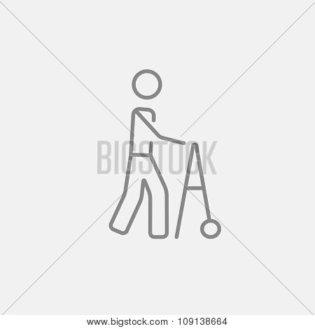Man with walker line icon for web, mobile and infographics. Vector dark grey icon isolated on light grey background.