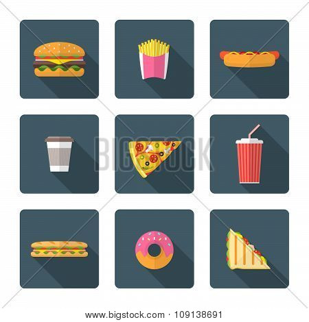Flat Style Colored Various Fast Food Icons Collection.