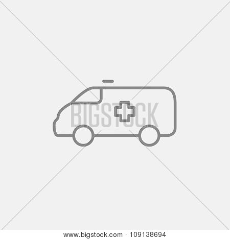 Ambulance car line icon for web, mobile and infographics. Vector dark grey icon isolated on light grey background.