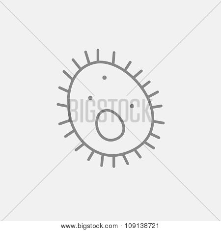 Bacteria line icon for web, mobile and infographics. Vector dark grey icon isolated on light grey background.