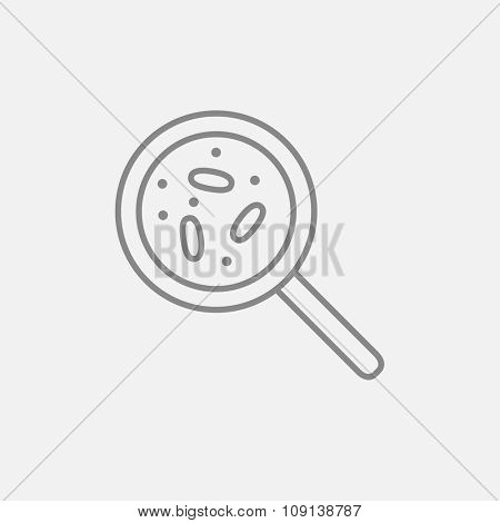 Microorganisms under magnifier line icon for web, mobile and infographics. Vector dark grey icon isolated on light grey background.