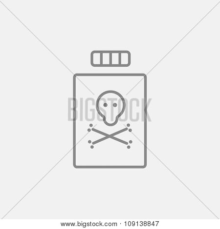 Bottle of poison line icon for web, mobile and infographics. Vector dark grey icon isolated on light grey background.