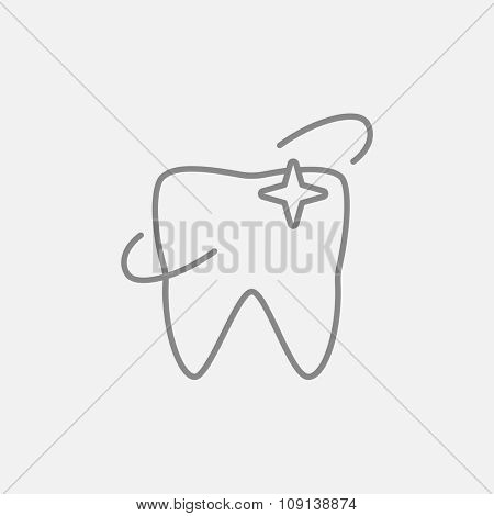 Shining tooth line icon for web, mobile and infographics. Vector dark grey icon isolated on light grey background.