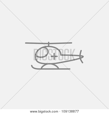 Air ambulance line icon for web, mobile and infographics. Vector dark grey icon isolated on light grey background.
