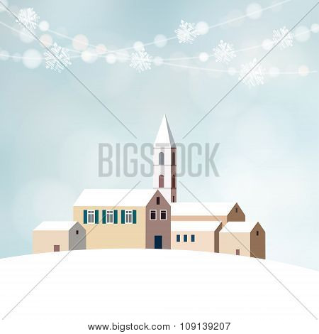 Christmas Greeting Card With Winter Snowy Landscape, Little Village With Church And Lights, Vector