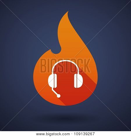 Long Shadow Vector Flame Icon With  A Hands Free Phone Device
