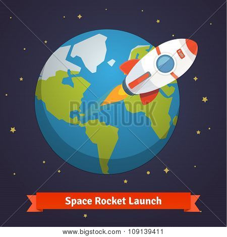 Cartoon space rocket leaving earth orbit