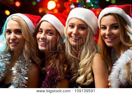 Happy girls at a Christmas party