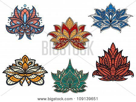 Indian and persian ethnic paisley flowers