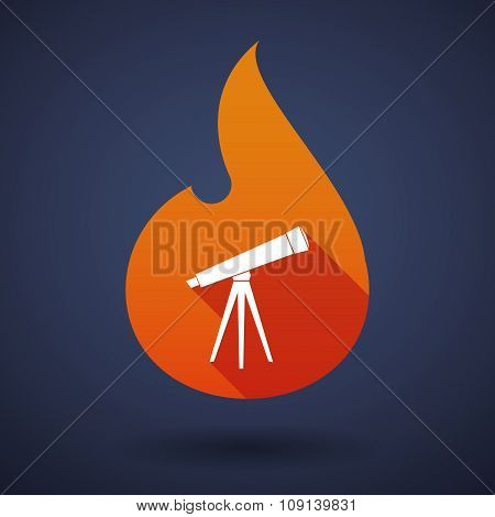 Long Shadow Vector Flame Icon With A Telescope