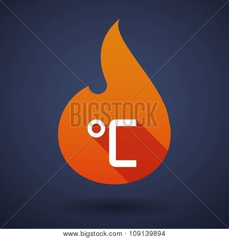 Long Shadow Vector Flame Icon With  A Celsius Degree Sign