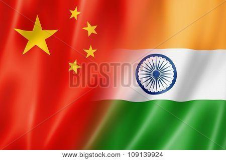 China And India Flag