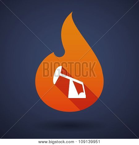 Long Shadow Vector Flame Icon With A Horsehead Pump