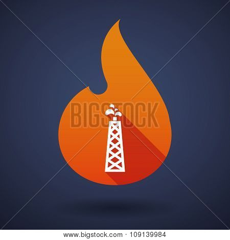 Long Shadow Vector Flame Icon With An Oil Tower