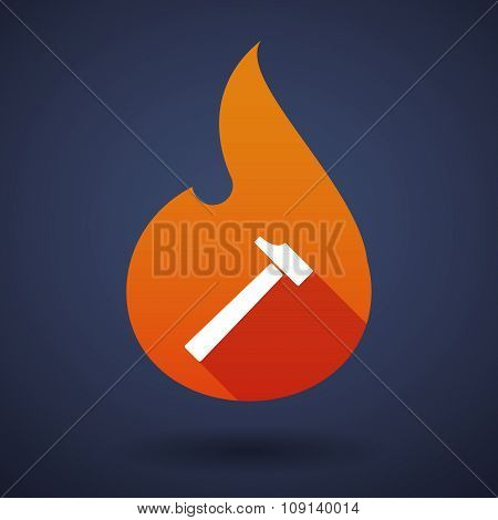 Long Shadow Vector Flame Icon With A Hammer