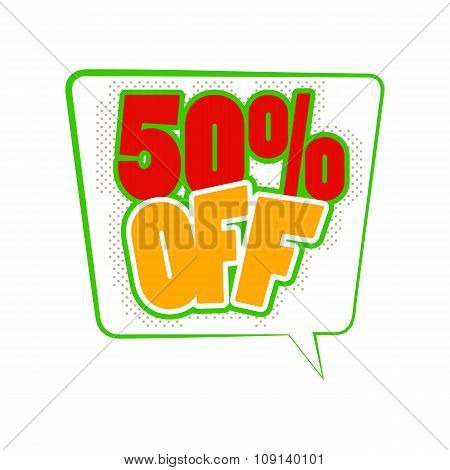 50 percent off comics icon