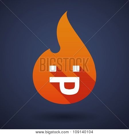 Long Shadow Vector Flame Icon With A Sticking Out Tongue Text Face