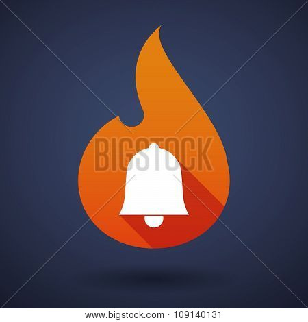 Long Shadow Vector Flame Icon With A Bell