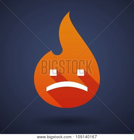 Long Shadow Vector Flame Icon With A Sad Text Face
