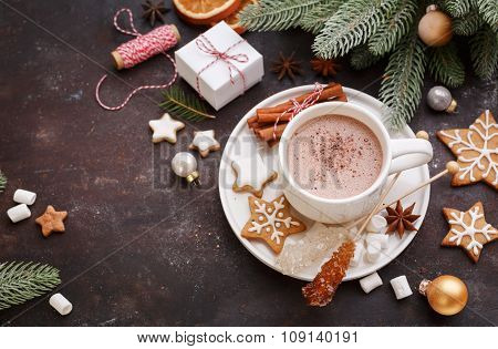 Christmas Homemade Gingerbread Cookies And Hot Chocolate