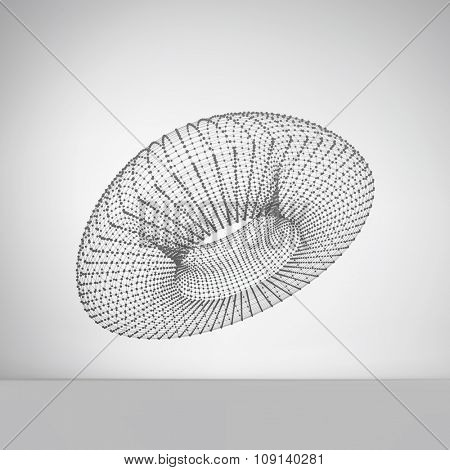 Lattice Geometric Polygonal Element. Connection Structure. Vector Illustration.