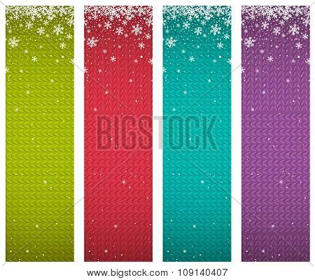 Color Christmas Banners With Snowflakes, Vector