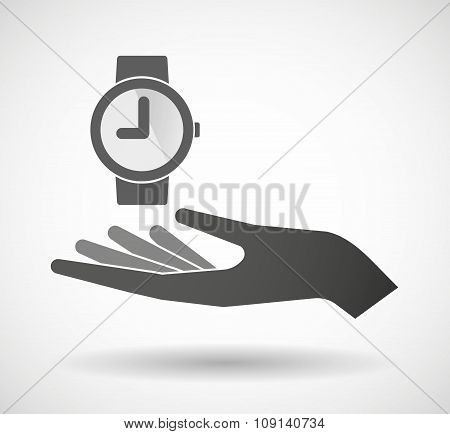 Isolated Vector Hand Giving A Wrist Watch