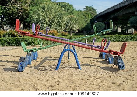 Old Seesaw In Kids Playground