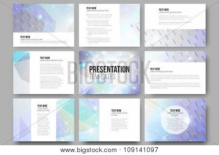 Set of 9 templates for presentation slides. Blue abstract winter background. Christmas vector style
